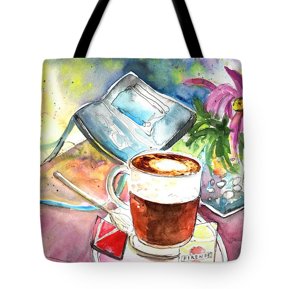 Impressionism Tote Bag featuring the painting Latte Macchiato In Italy 01 by Miki De Goodaboom