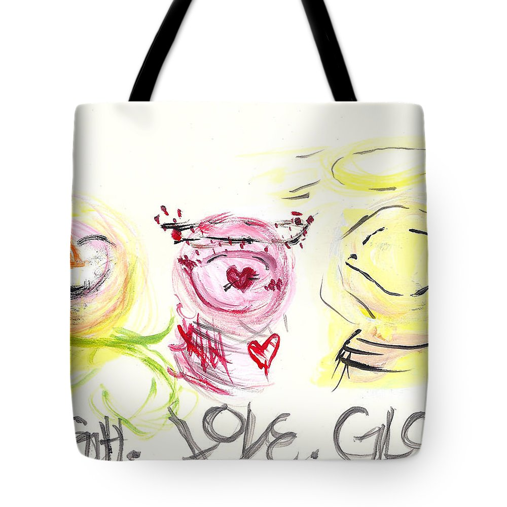 Snowman Tote Bag featuring the painting Laugh Love Glow by Molly Picklesimer