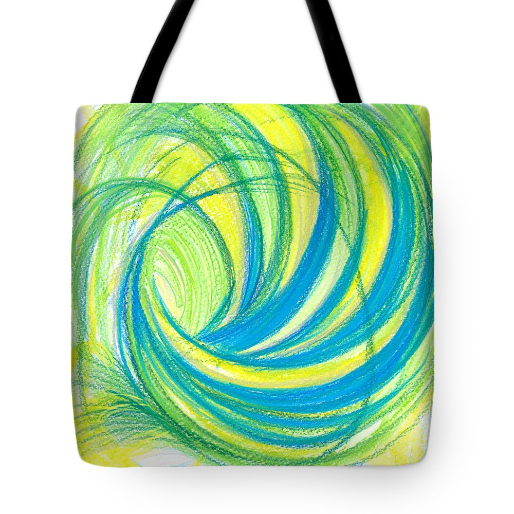 Abstract Tote Bag featuring the drawing Launch Yourself On Every Wave by Kelly K H B