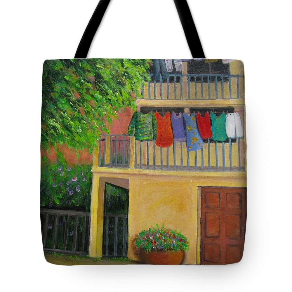 Laundry Tote Bag featuring the painting Laundry Day by Laurie Morgan