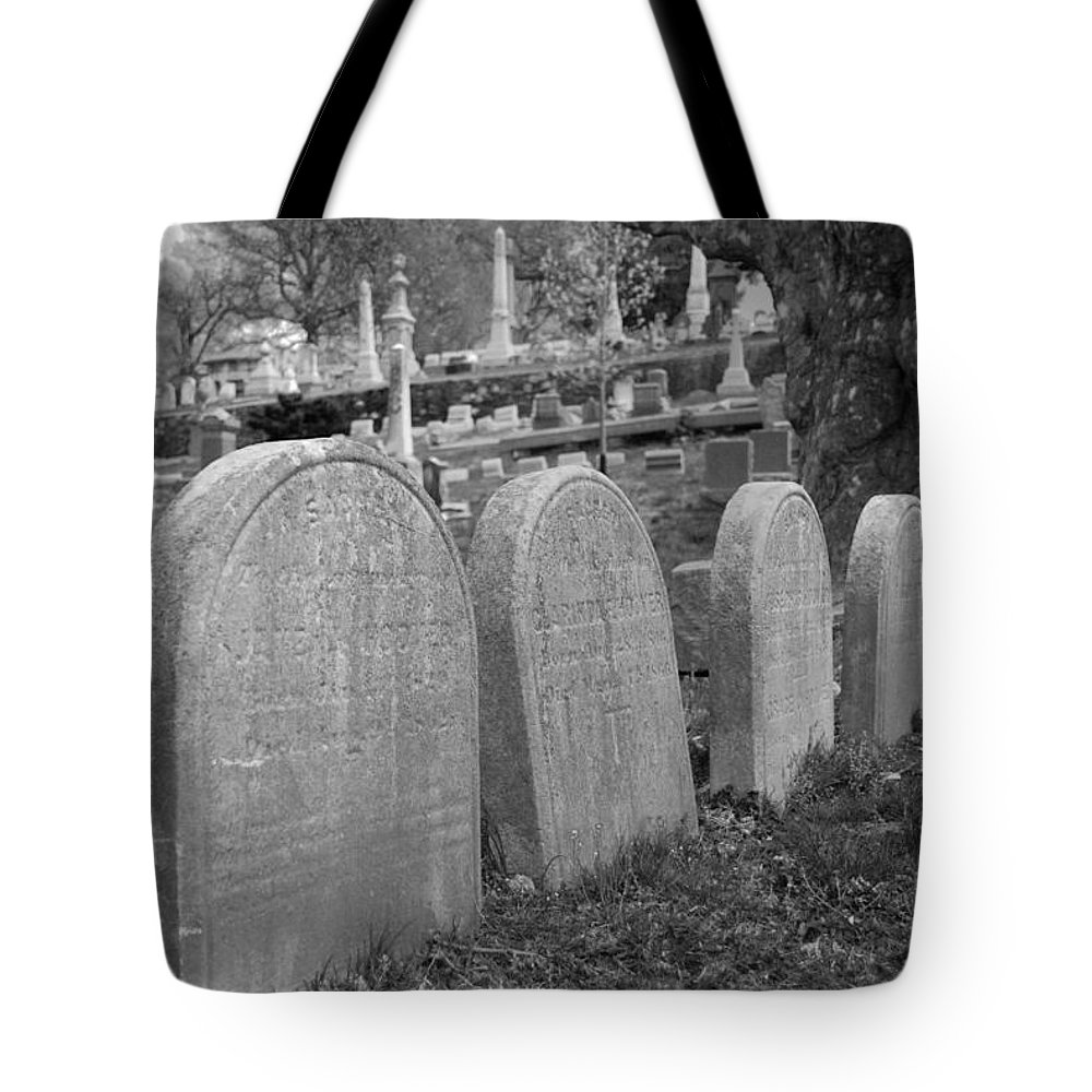 Cemetery Tote Bag featuring the photograph Laurel Hill Headstones by Jennifer Ancker