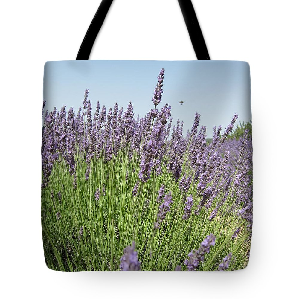 Lavender Tote Bag featuring the photograph Lavender And The Bee by Pema Hou
