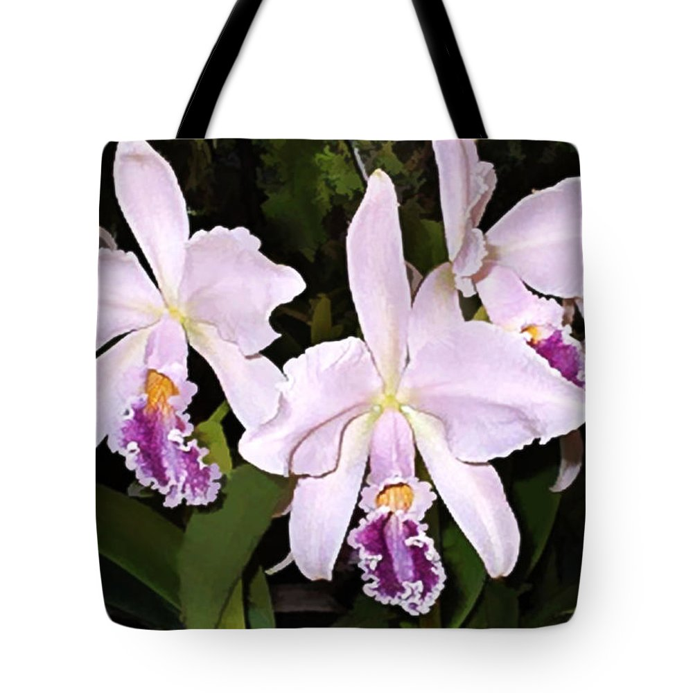 Orchid Tote Bag featuring the painting Lavender Cattleya Orchids by Elaine Plesser