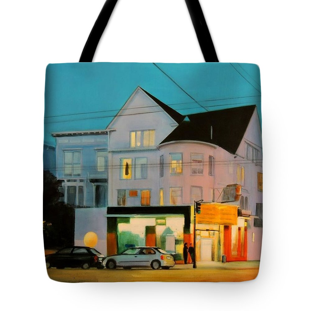 Corner Tote Bag featuring the painting Lavender by Marianne Bland