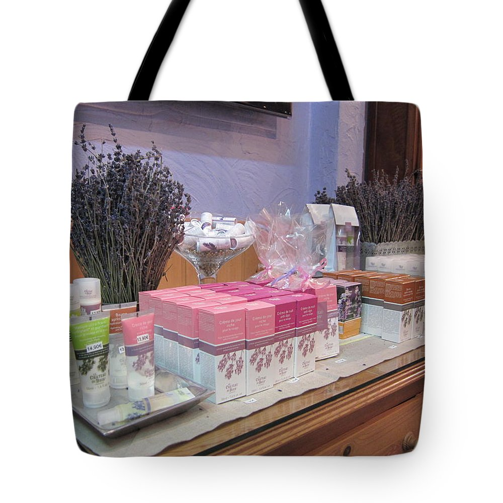 Lavender Tote Bag featuring the photograph Lavender Museum Shop 2 by Pema Hou