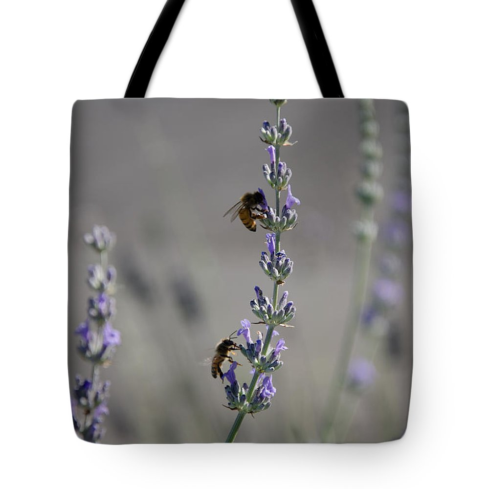 Bee Tote Bag featuring the photograph Lavender Rest Stop by Joie Cameron-Brown