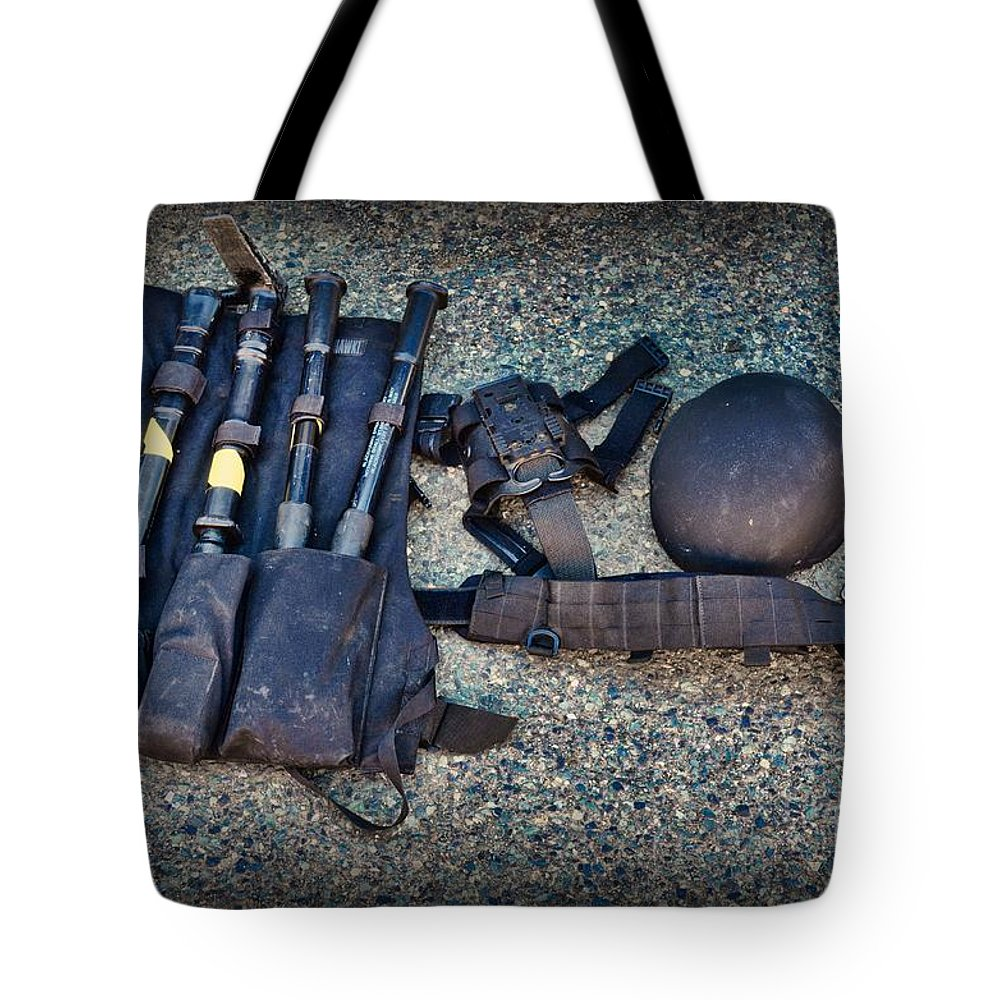 Swat Tote Bag featuring the photograph Law Enforcement -swat Gear - Entry Tools by Paul Ward