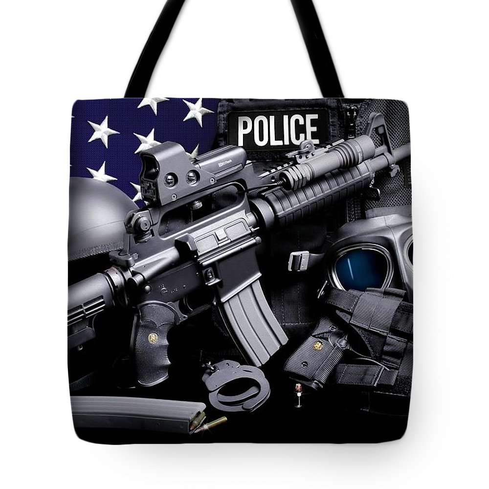 Law Enforcement Tote Bag featuring the photograph Law Enforcement Tactical Police by Gary Yost