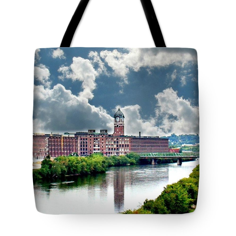 Lawrence Tote Bag featuring the photograph Lawrence Ma Historic Clock Tower by Barbara S Nickerson