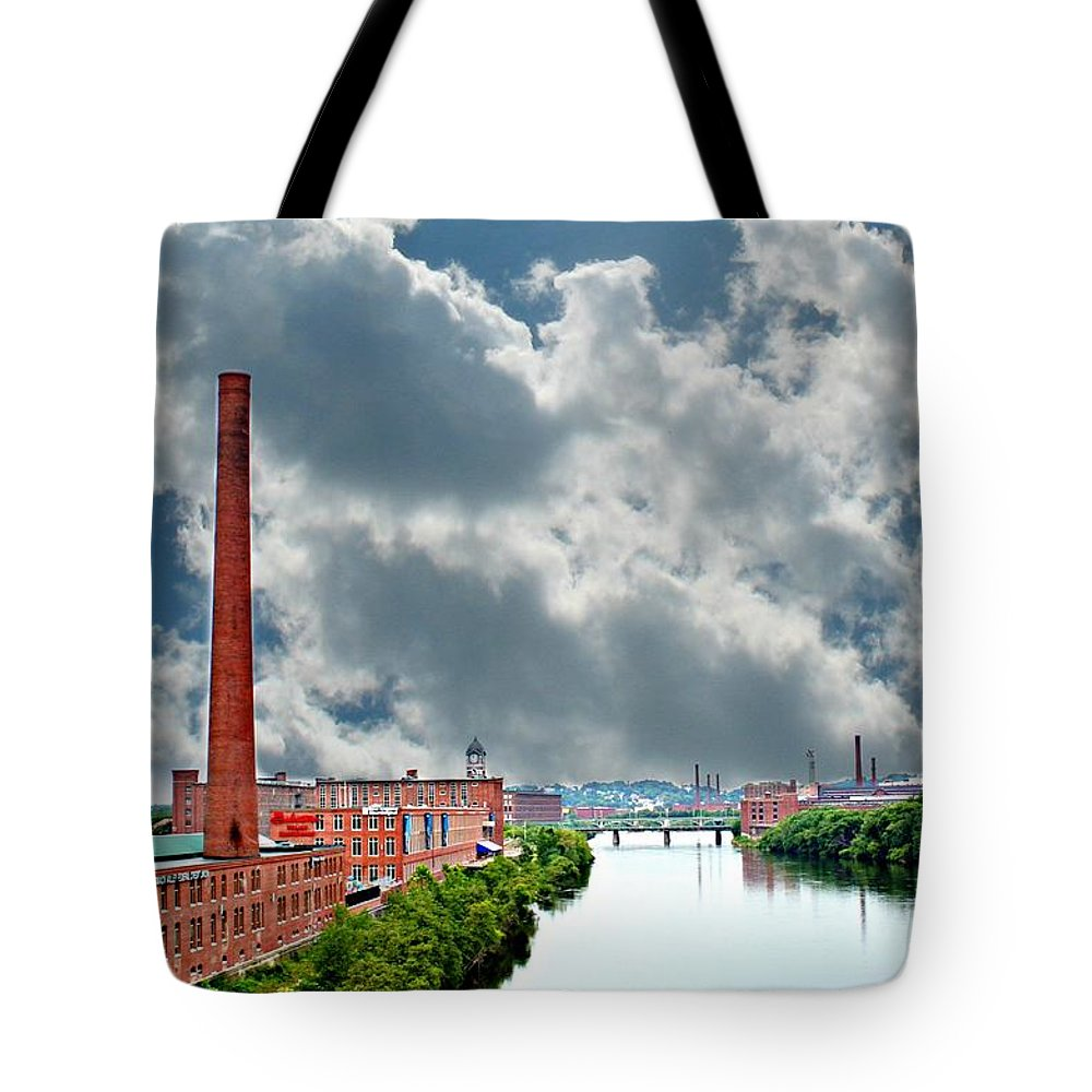 Lawrence Tote Bag featuring the photograph Lawrence Ma Skyline by Barbara S Nickerson
