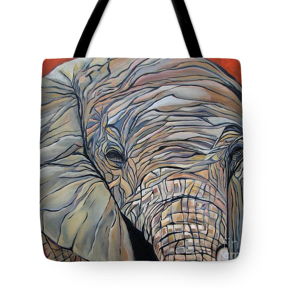 Elephant Tote Bag featuring the painting Lazy Boy by Aimee Vance