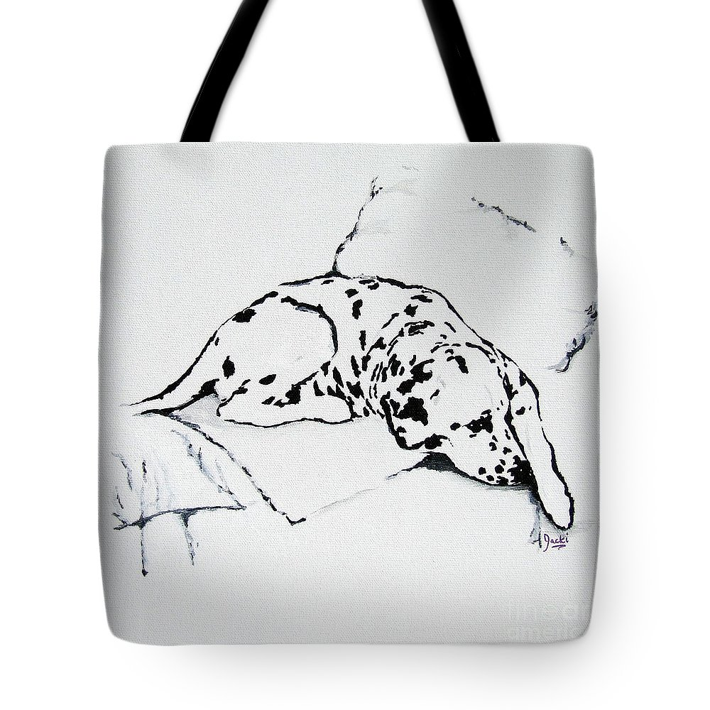 Dogs Tote Bag featuring the painting Lazy Day by Jacki McGovern