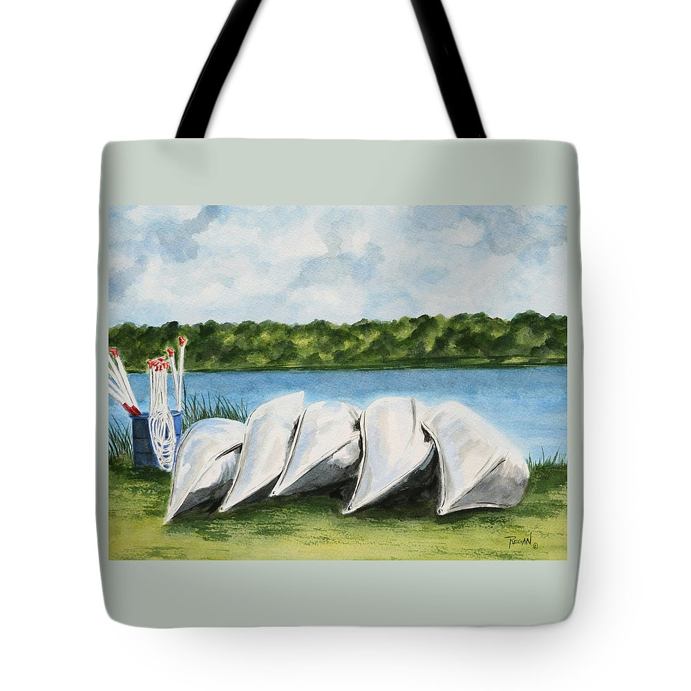 Canoes Tote Bag featuring the painting Lazy River by Regan J Smith