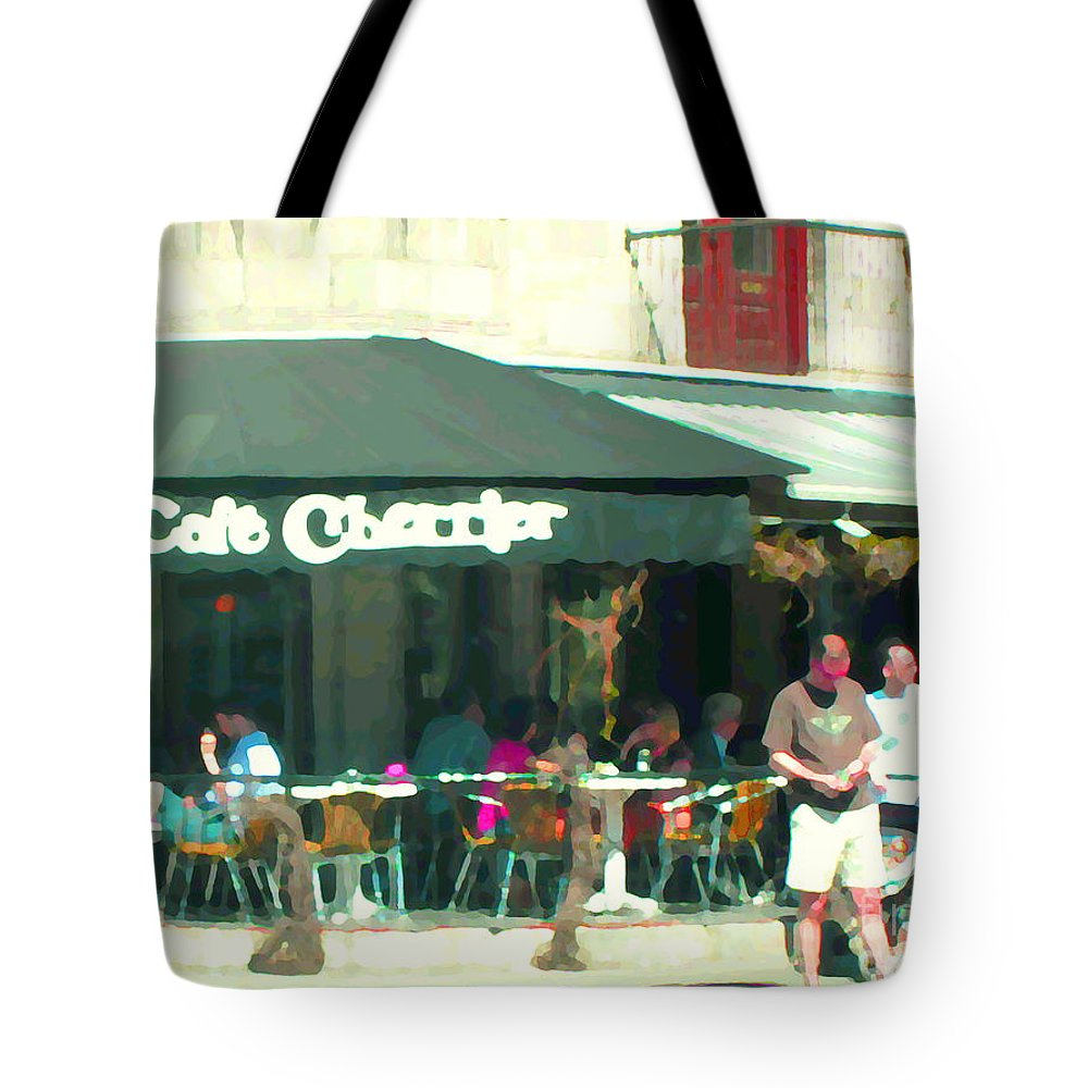 Montreal Tote Bag featuring the painting Le Cafe Cherrier Bistro Bar Au Coin Rue St Denis Montreal Terrace Restaurant Scene Carole Spandau by Carole Spandau