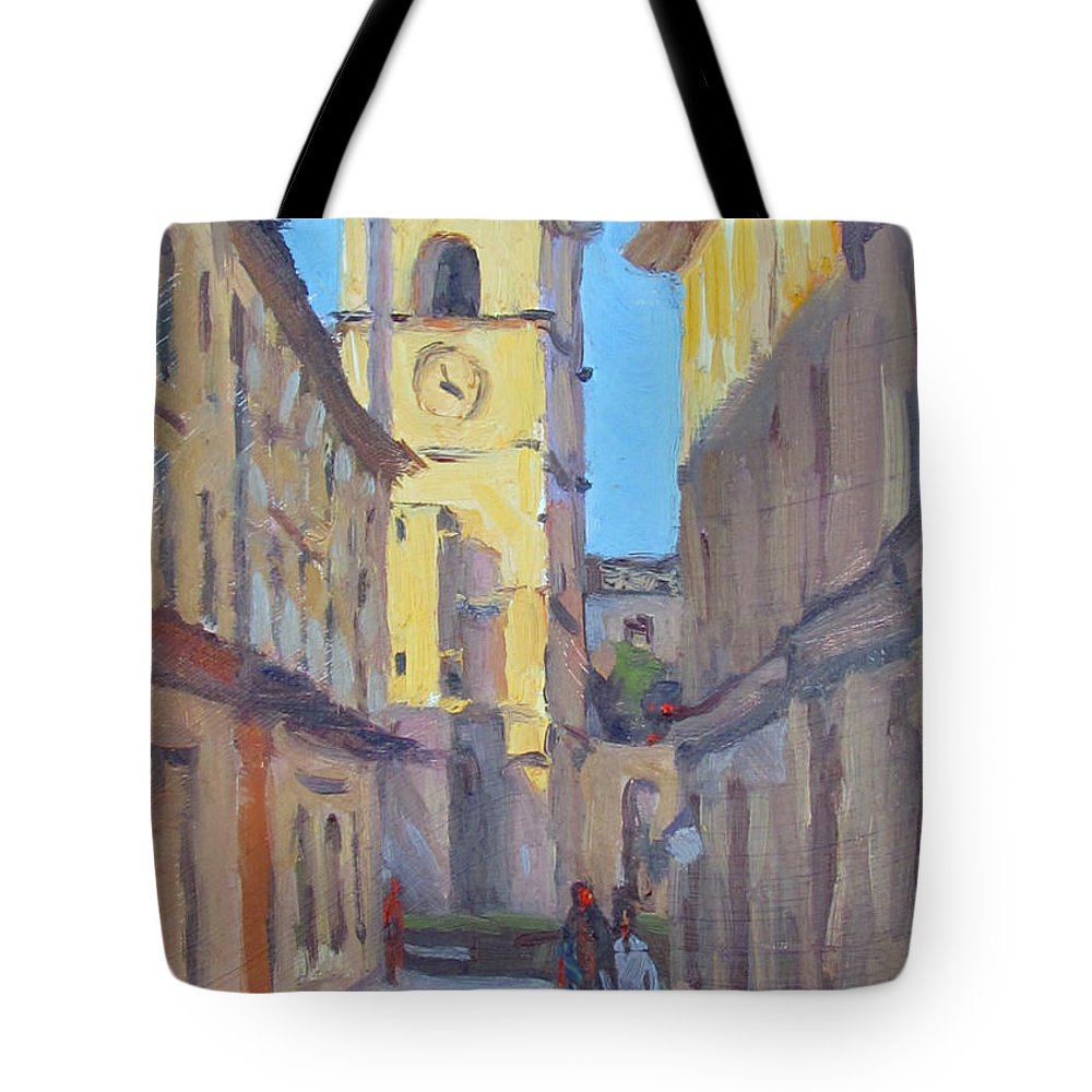 France Tote Bag featuring the painting Le Clocher by Dianne Panarelli Miller