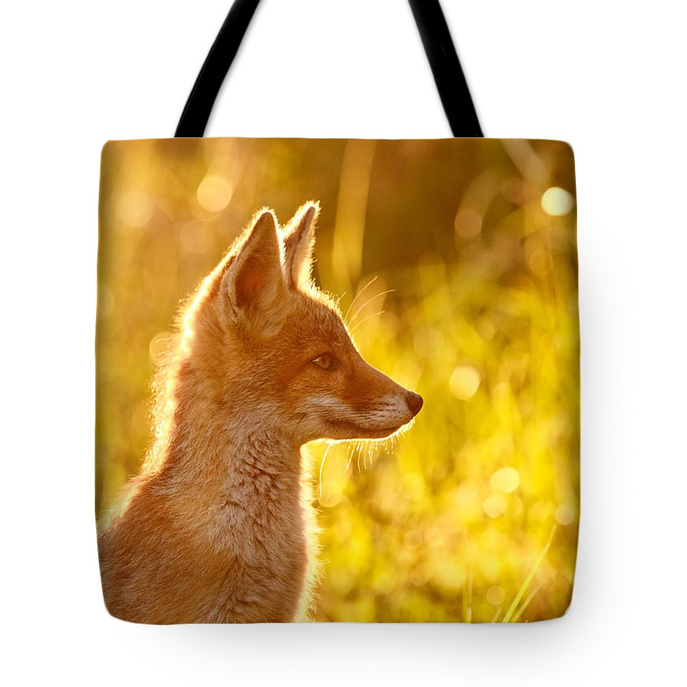 Fox Tote Bag featuring the photograph Le P'tit Renard by Roeselien Raimond