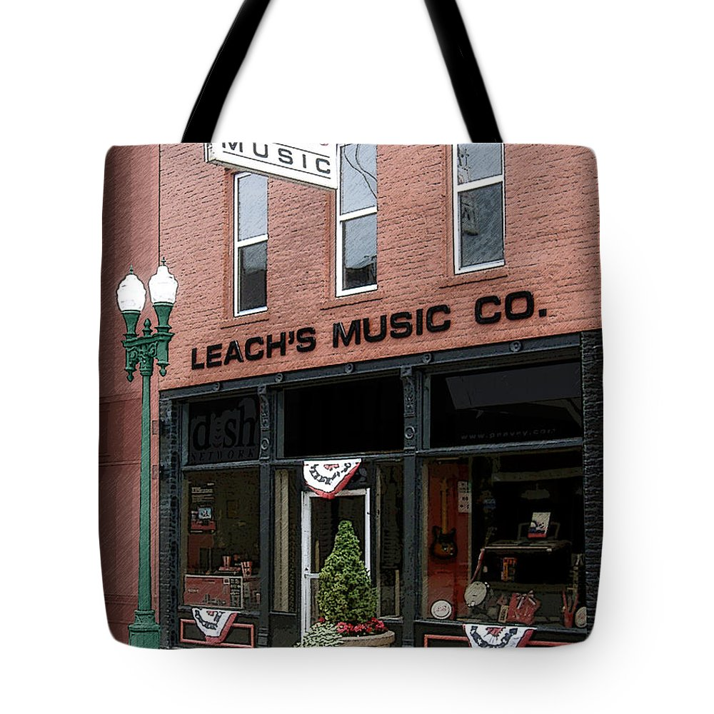 Music Store Tote Bag featuring the photograph Leach's Music by Lee Owenby