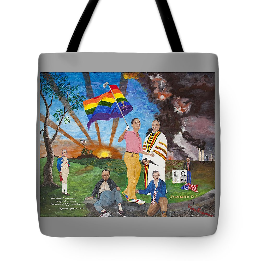 Whimsical Obama Tote Bag featuring the painting Leading Obama Left by Mark Robbins