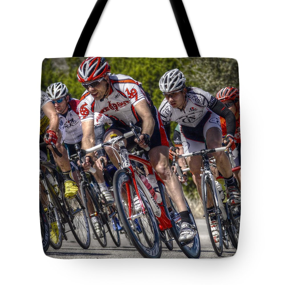 Cyclist Tote Bag featuring the digital art Leading The Race by Linda Unger