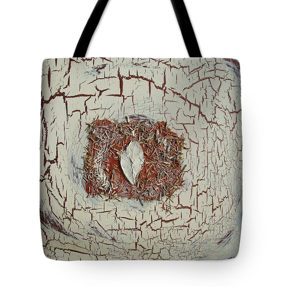 Lemon Grass Tote Bag featuring the painting Leaf In Winter by Holly Picano