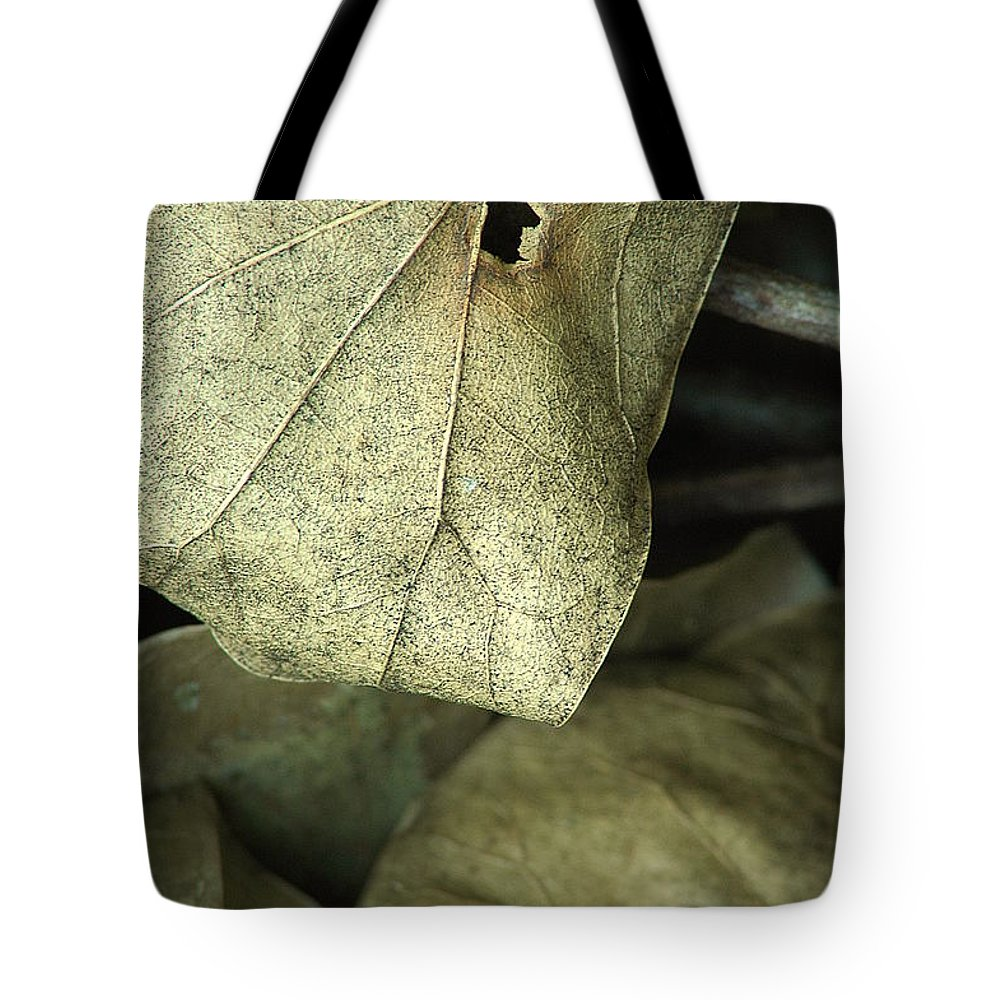 Leaf Tote Bag featuring the photograph Leafpile 2 by David Weeks
