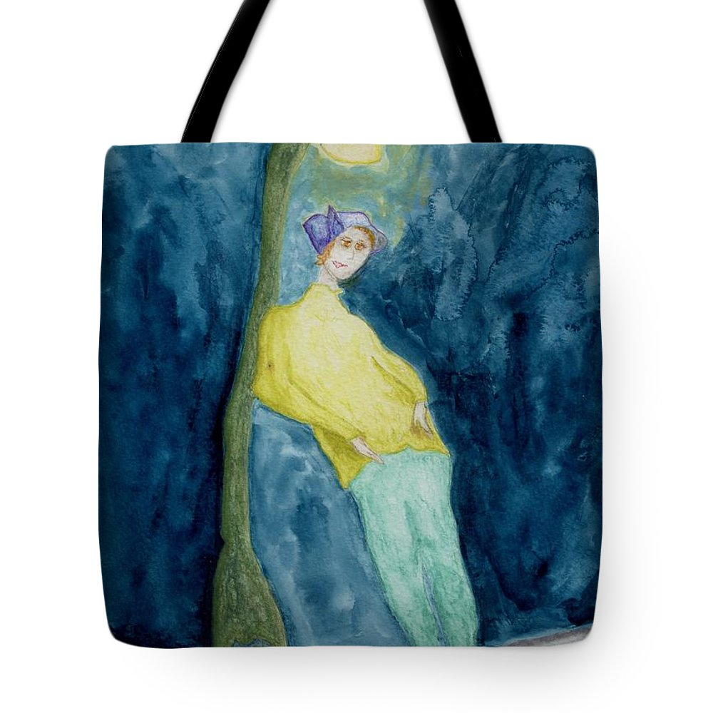 Jim Taylor Tote Bag featuring the painting Leaning On The Lamp Post by Jim Taylor