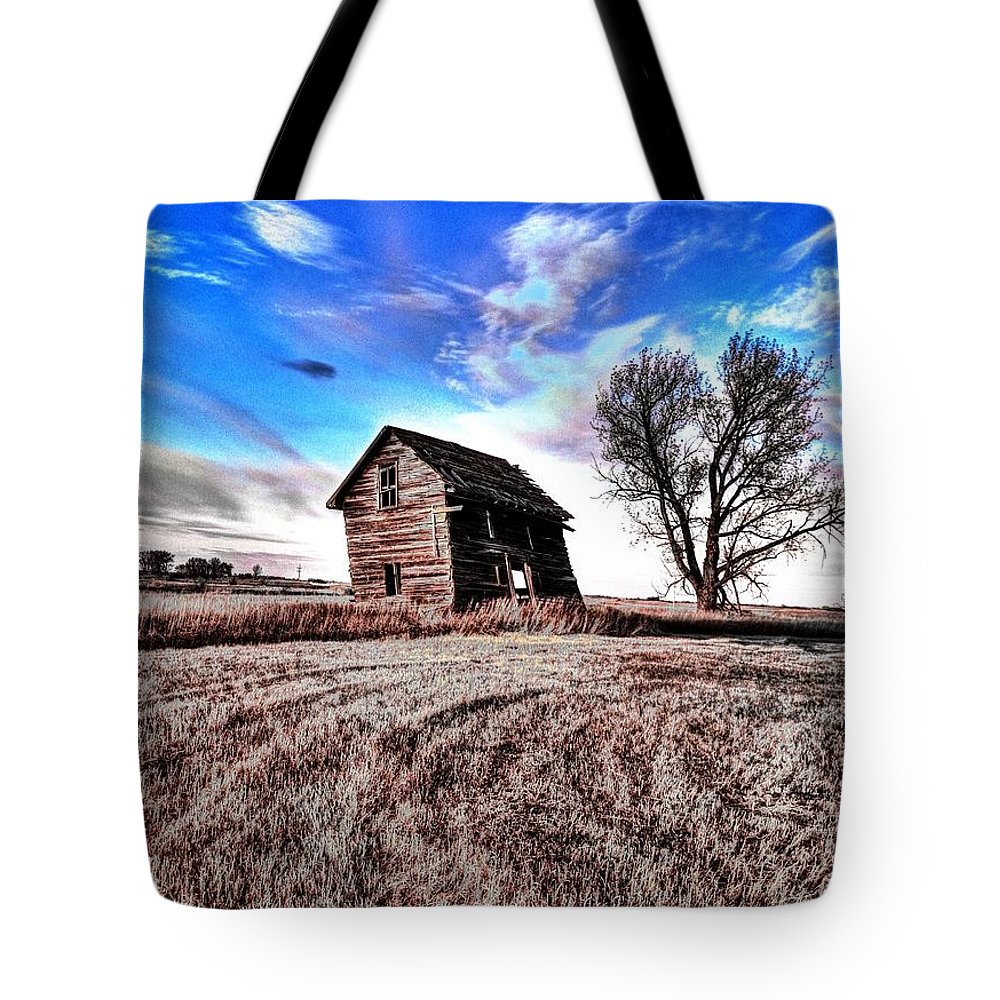 Red Barns Tote Bag featuring the photograph Leaning Shack by David Matthews