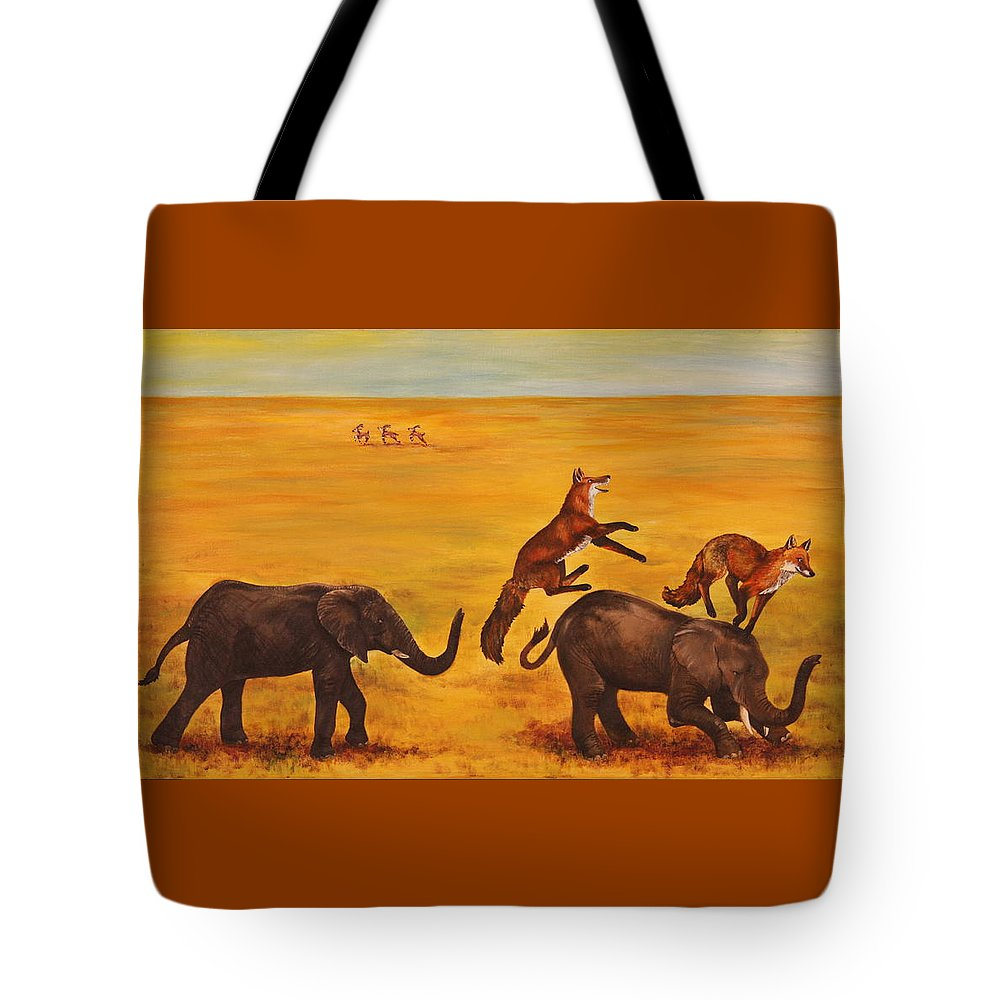 Fox Tote Bag featuring the painting Leap Frog by Michelle Miron-Rebbe