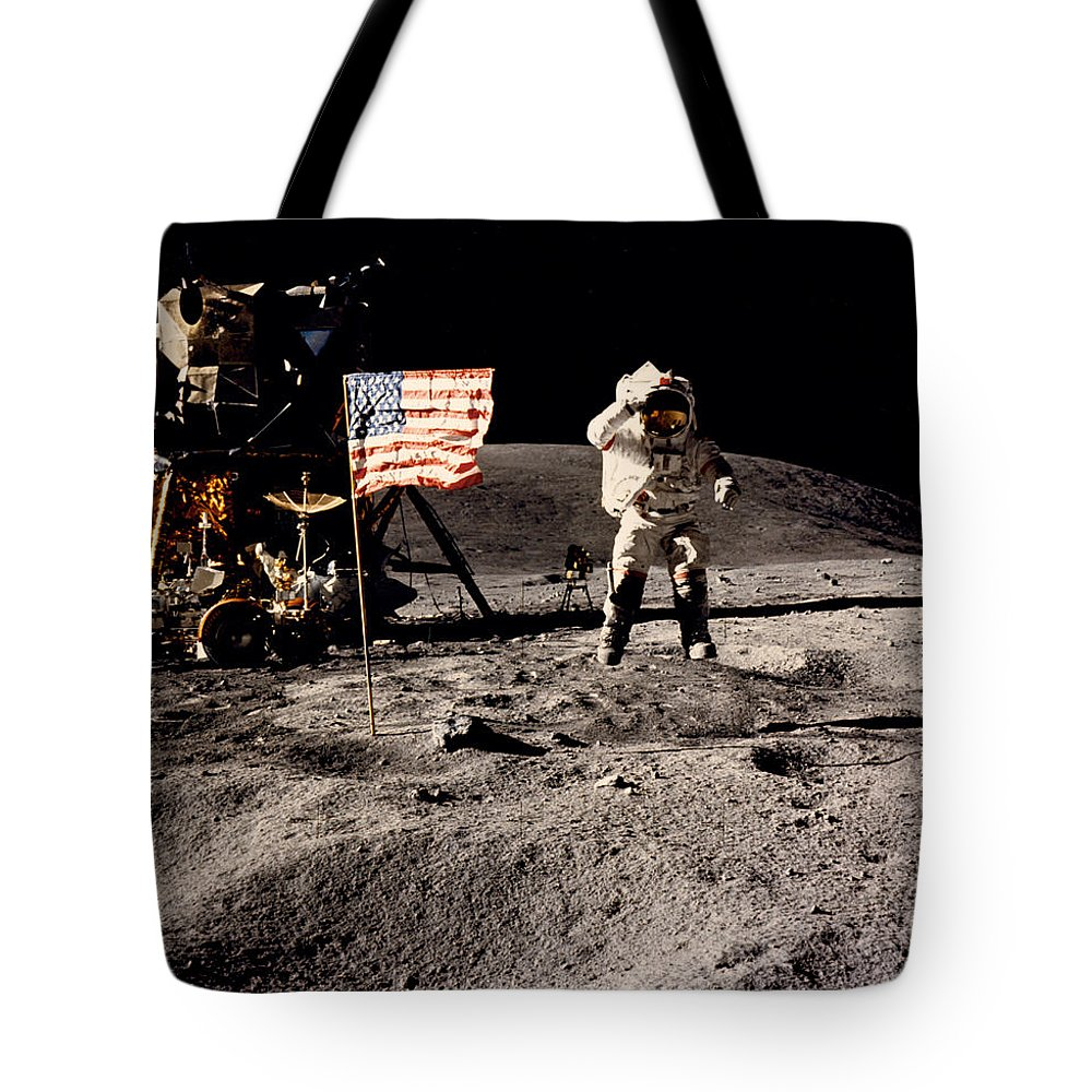 1 Person Tote Bag featuring the photograph Leaping Lunar Flag Salute by Underwood Archives