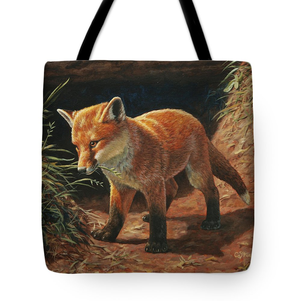 Fox Tote Bag featuring the painting Red Fox Pup - Learning by Crista Forest
