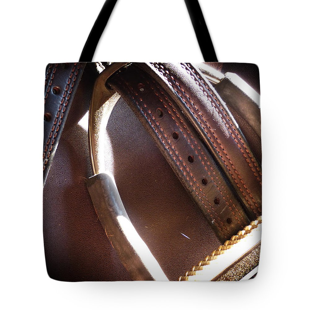Horse Tote Bag featuring the photograph Leather And Iron by Monique Morin Matson