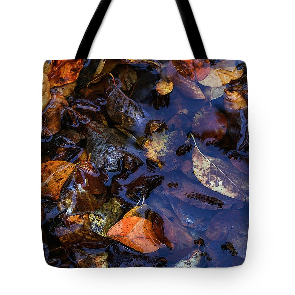 Nature Tote Bag featuring the photograph Leaves In A Puddle by Christine Czernin Morzin