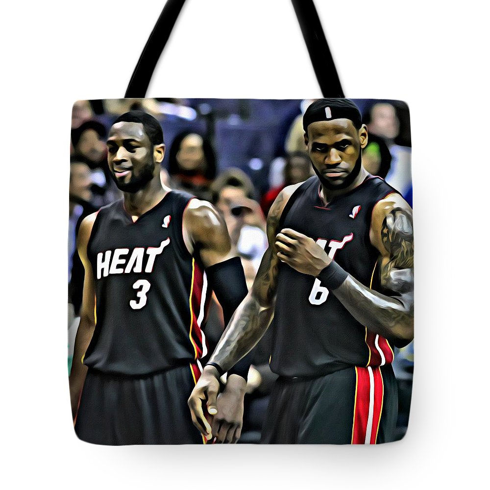 Lebron James Tote Bag featuring the painting Lebron James And Dwyane Wade by Florian Rodarte