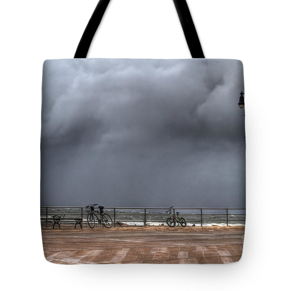 Bench Tote Bag featuring the photograph Left In The Power Of The Storm by Evelina Kremsdorf