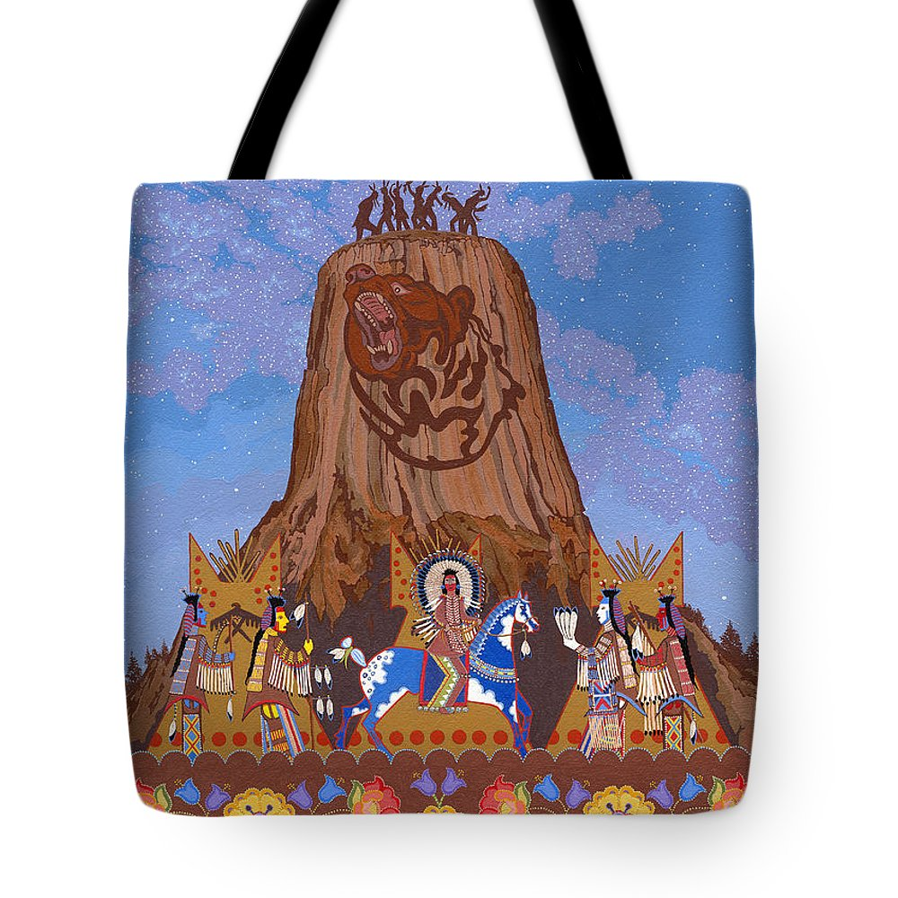 America Tote Bag featuring the painting Legend Of Bear's Tipi by Chholing Taha