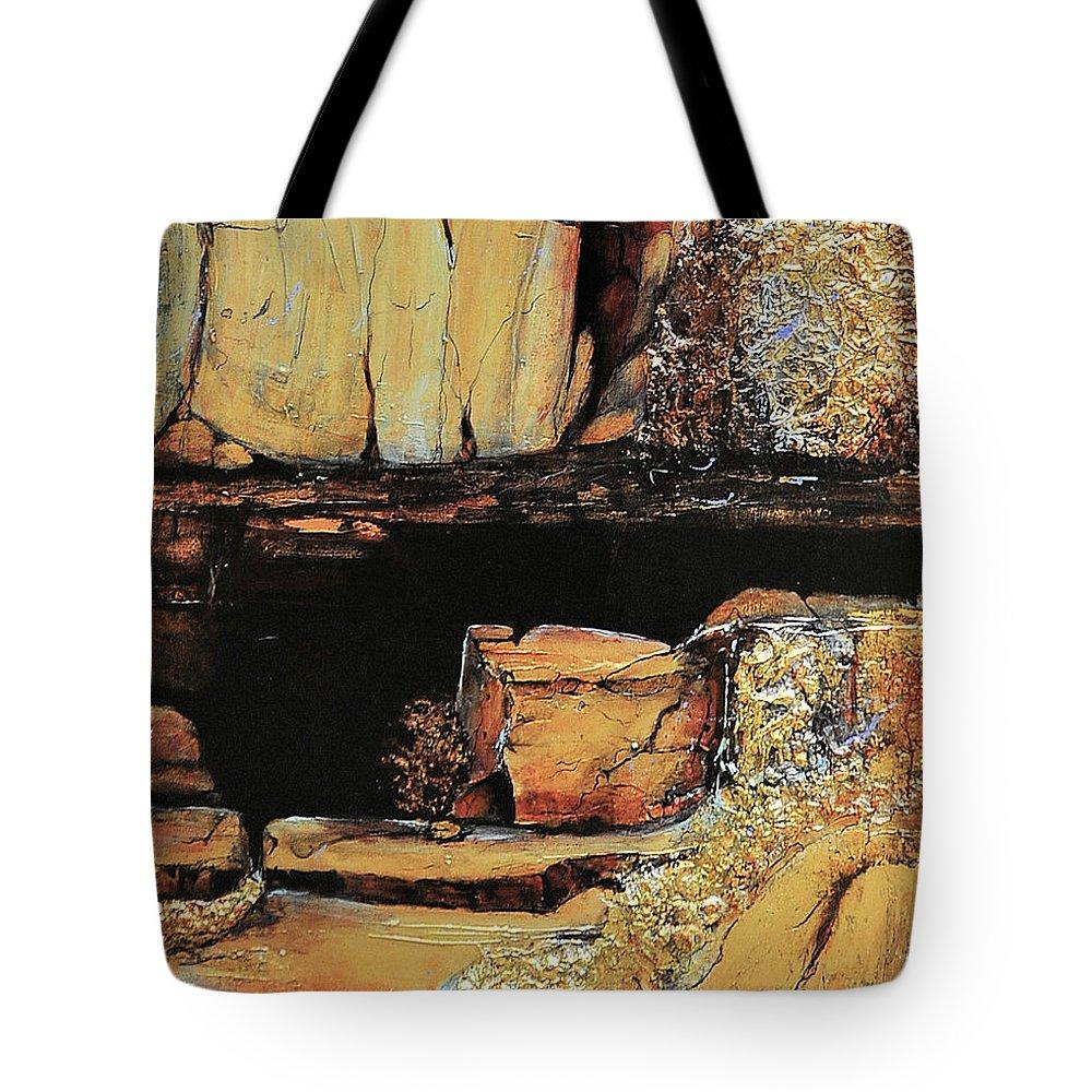 Jaxine Cummins Tote Bag featuring the painting Legendary Lost Dutchman Mine by JAXINE Cummins