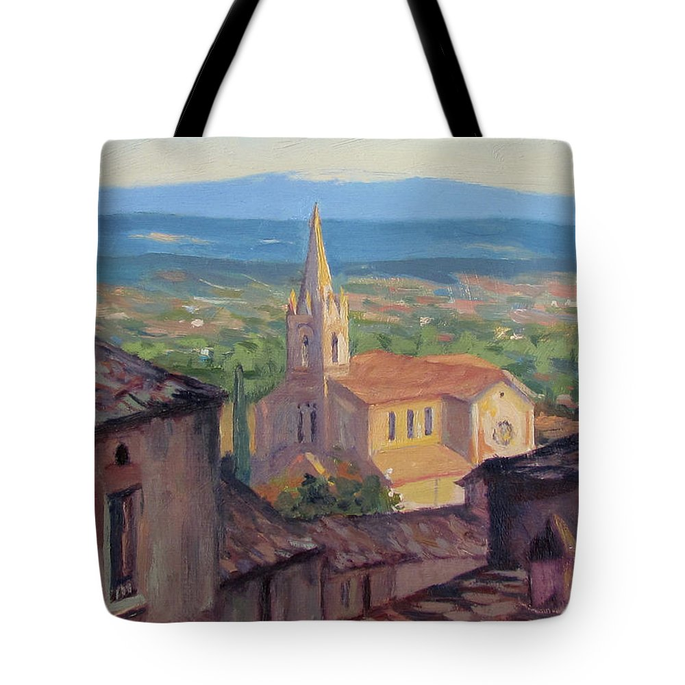 Provence Tote Bag featuring the painting L'eglise Sur La Colline by Dianne Panarelli Miller