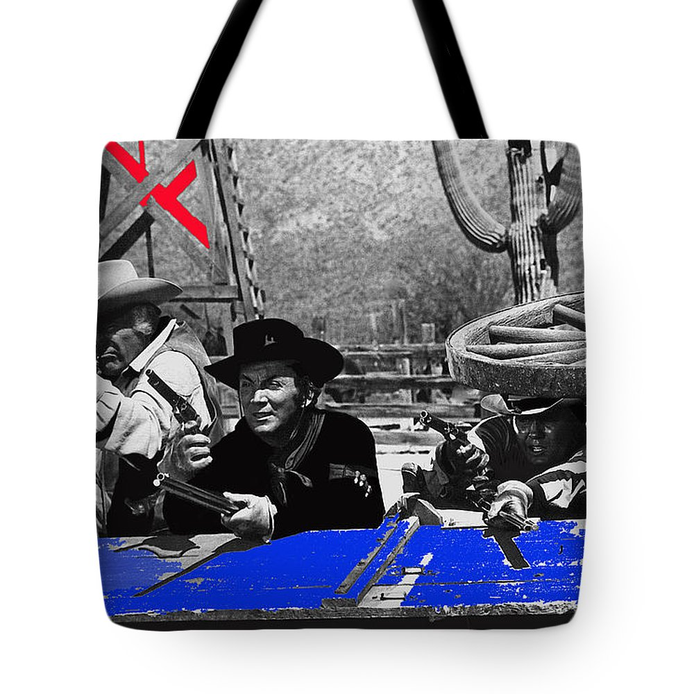 Leif Erickson Cameron Mitchell Mark Slade Number 1 The High Chaparral Set Old Tucson Arizona 1969 Upended Freight Wagon Fighting Off Raiding Apaches Tote Bag featuring the photograph Leif Erickson Cameron Mitchell Mark Slade Number 1 The High Chaparral Set Old Tucson Az 1969 by David Lee Guss