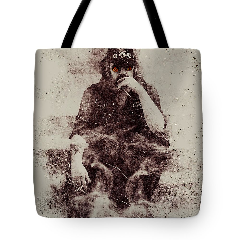 4af146e786d43 Lemmy Tote Bag featuring the mixed media Lemmy by Jarno Lahti