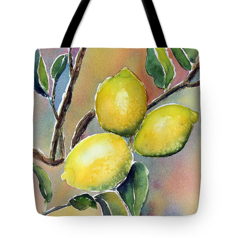Lemon Tote Bag featuring the painting Lemon Tree by Patricia Novack