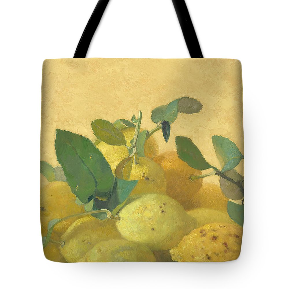 Lemone Locale Tote Bag featuring the painting Lemons by Ben Rikken