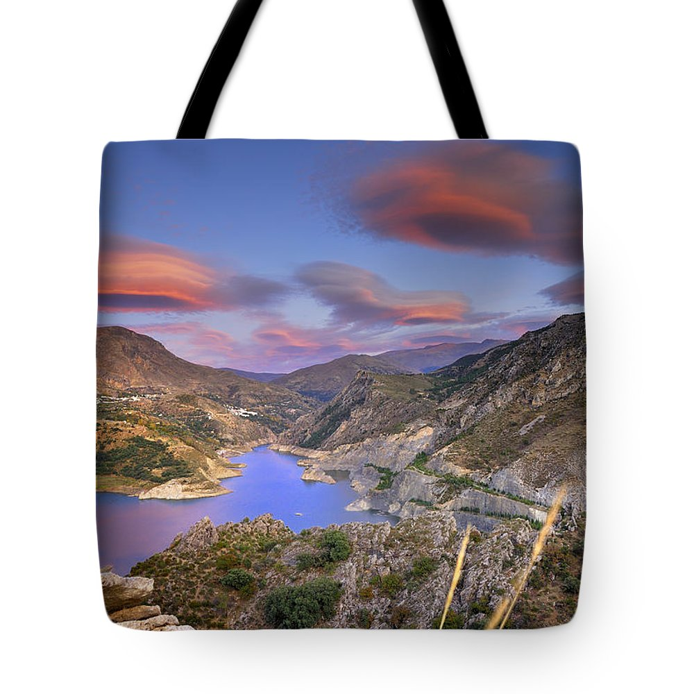Sunset Tote Bag featuring the photograph Lenticular Clouds At The Red Sunset by Guido Montanes Castillo
