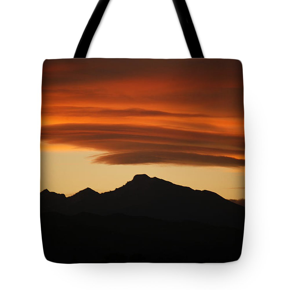 Lenticular Tote Bag featuring the photograph Lenticular Clouds Over Longs Peak by Marilyn Hunt