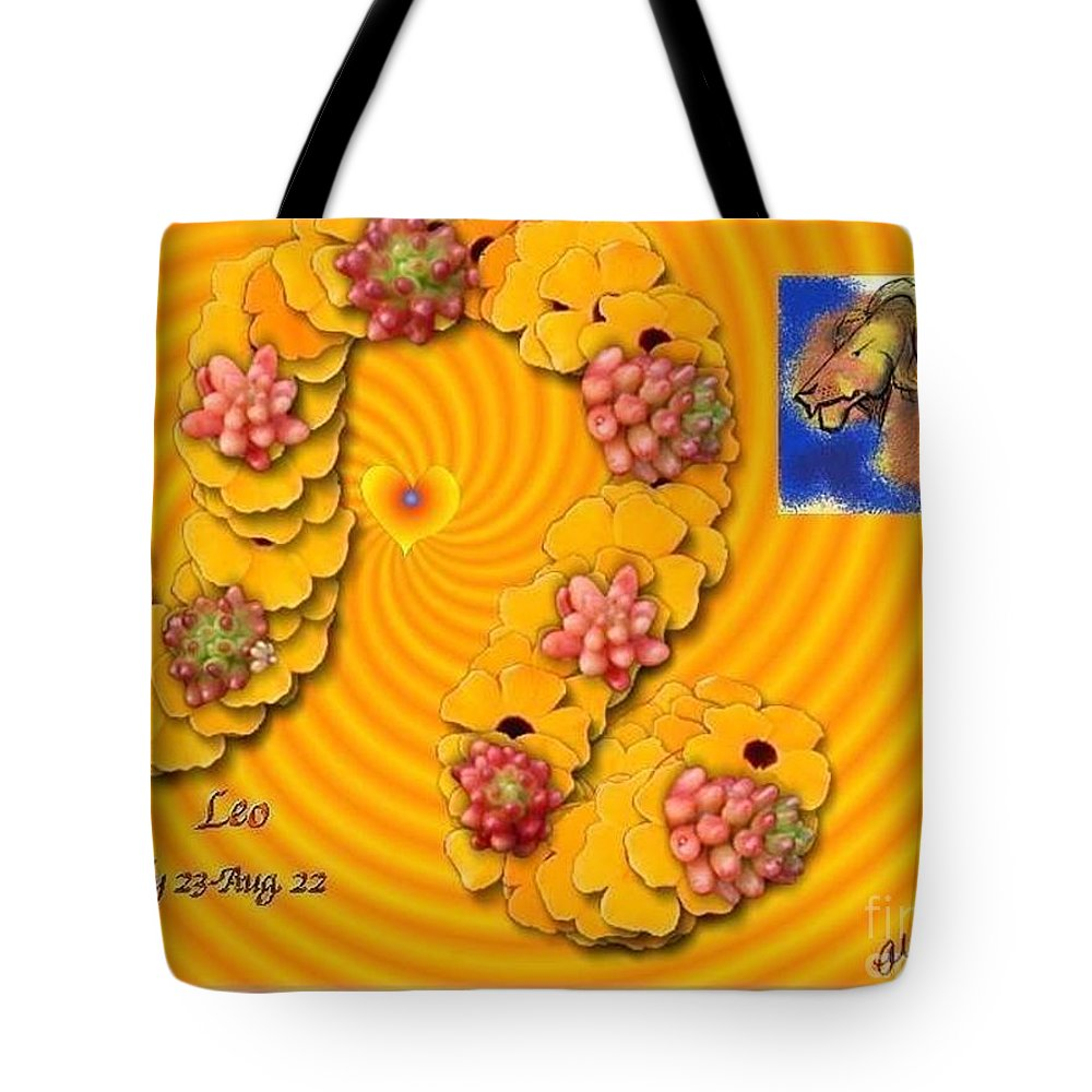 Leo Tote Bag featuring the digital art Leo With William Baumol by The Art of Alice Terrill