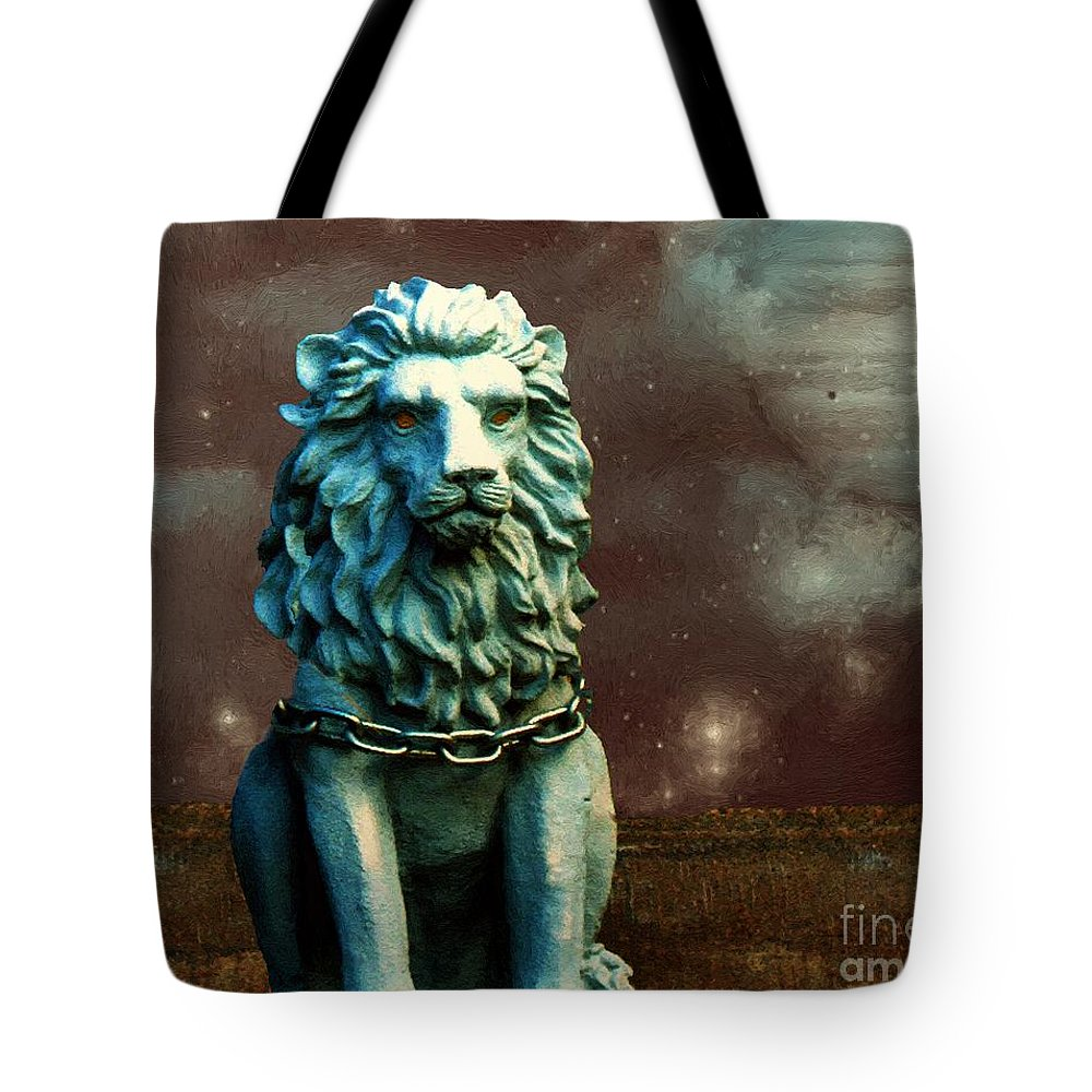 Lion Tote Bag featuring the painting Leo Celestial by RC DeWinter
