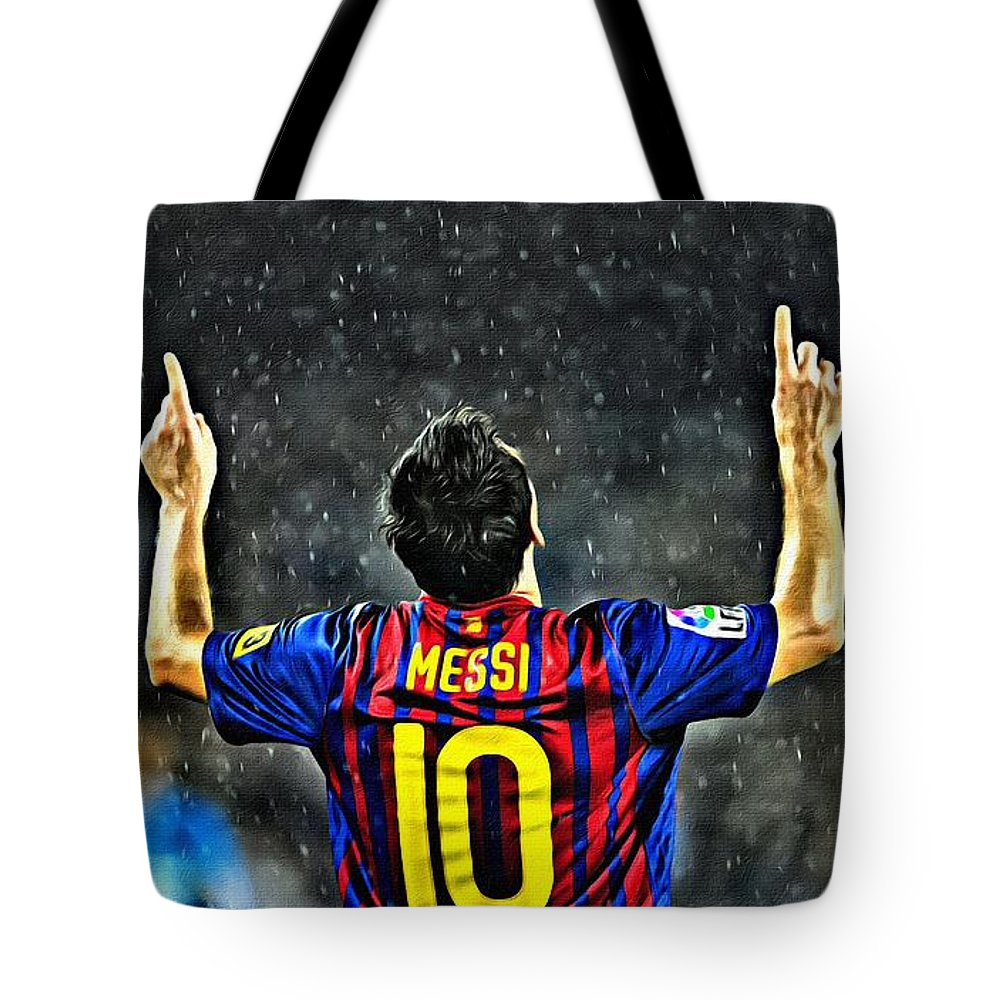Leo Messi Tote Bag featuring the painting Leo Messi Poster Art by Florian Rodarte