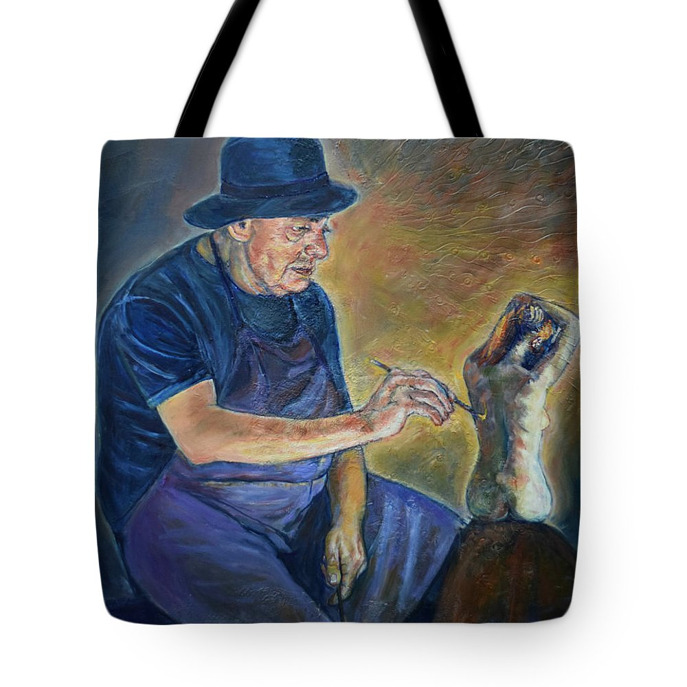 Oil Painting On Canvas Tote Bag featuring the painting Figurative Painting by Raija Merila