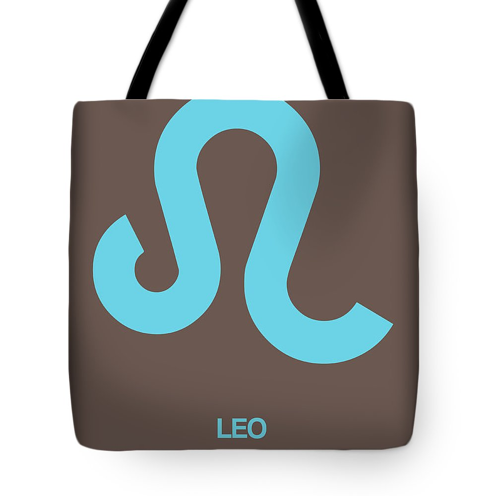 Leo Tote Bag featuring the digital art Leo Zodiac Sign Blue by Naxart Studio