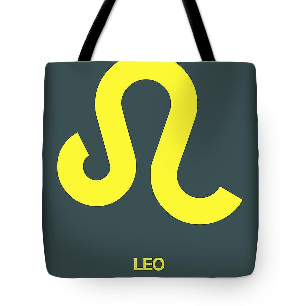 Tote Bag featuring the digital art Leo Zodiac Sign Yellow by Naxart Studio