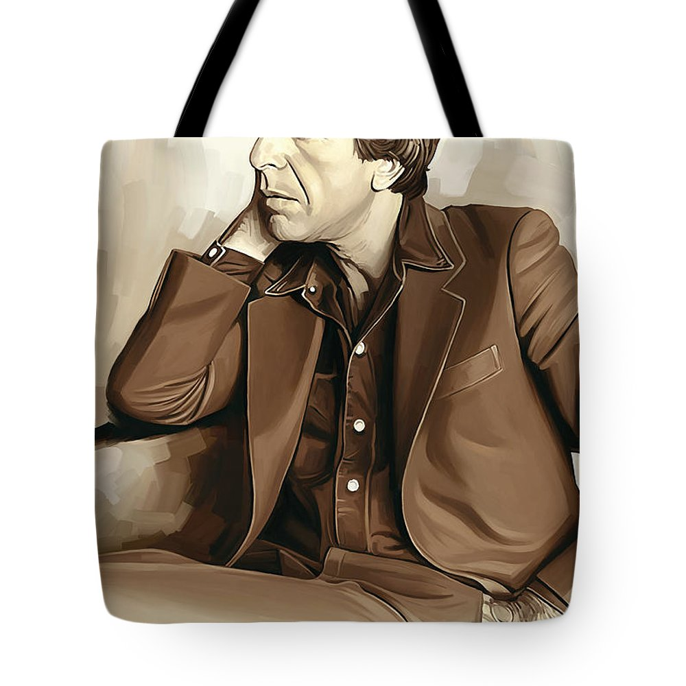 Leonard Cohen Paintings Tote Bag featuring the painting Leonard Cohen Artwork 2 by Sheraz A